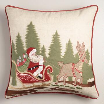 Santa with Reindeer Embroidered Throw Pillow